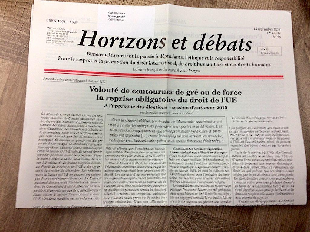 Horizons et débats journal